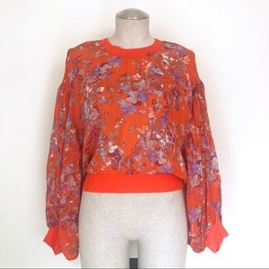 Free People Floral Bishop Sleeve Crop Blouse